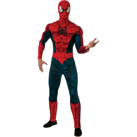 Deluxe Muscle Chest Spider-Man Adult Halloween Costume - Old Men Costume
