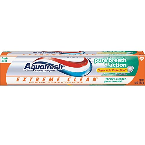 Aquafresh Extreme Clean Pure Breath Fluoride Toothpaste, 5.6 ounce (Pack of 12)