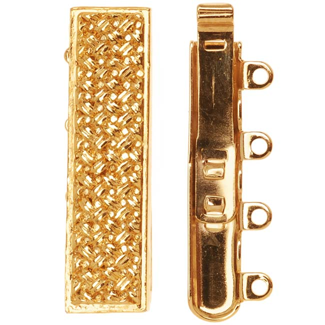 23K Gold Plated 4-Strand Box Clasp - Rectangle With Crosshatch Design 10x25mm