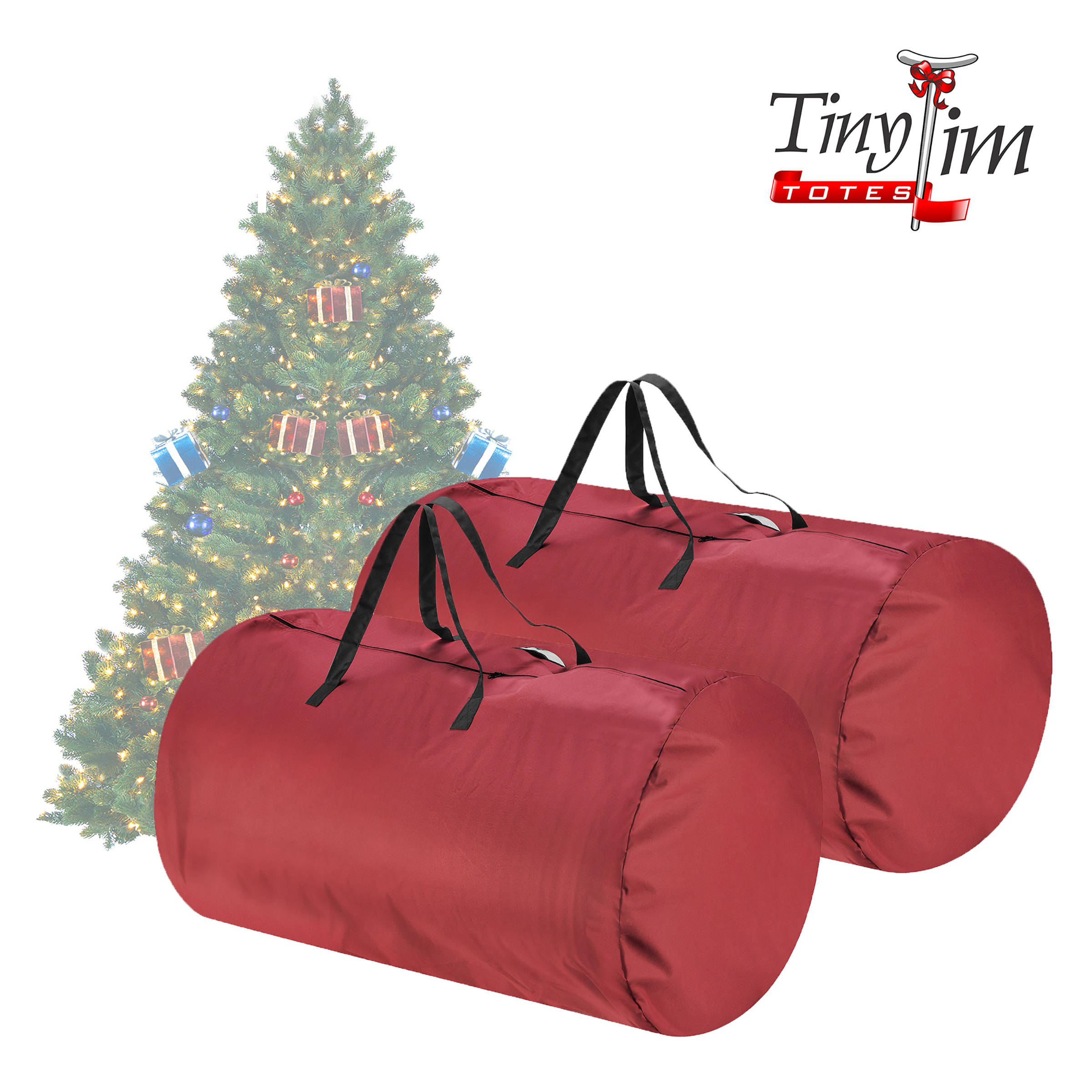 Tiny Tim Totes | Premium 2-Pack | Canvas Christmas Tree Storage Bags | Extra Large For 9 Foot and 7.5 Foot Trees | Red