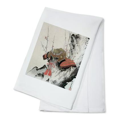 Helmet on a Plum Tree Japanese Wood-Cut Print (100% Cotton Kitchen Towel)