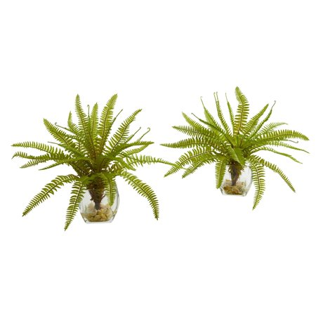 """Nearly Natural 8"""" Fern Artificial Plant in Vase (Set of 2)"""