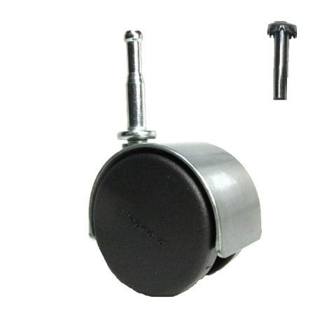 "(One) Shepherd Pacer Hard Wheel Stem Caster 2"" Twin Wheel for Wood Leg Satin by Shepherd"