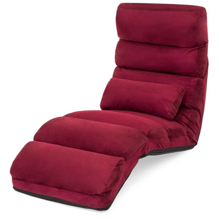 Best Choice Products Folding Floor Lounge Sofa Chair w/ Pillow for Gaming, Lounging - Burgundy ()