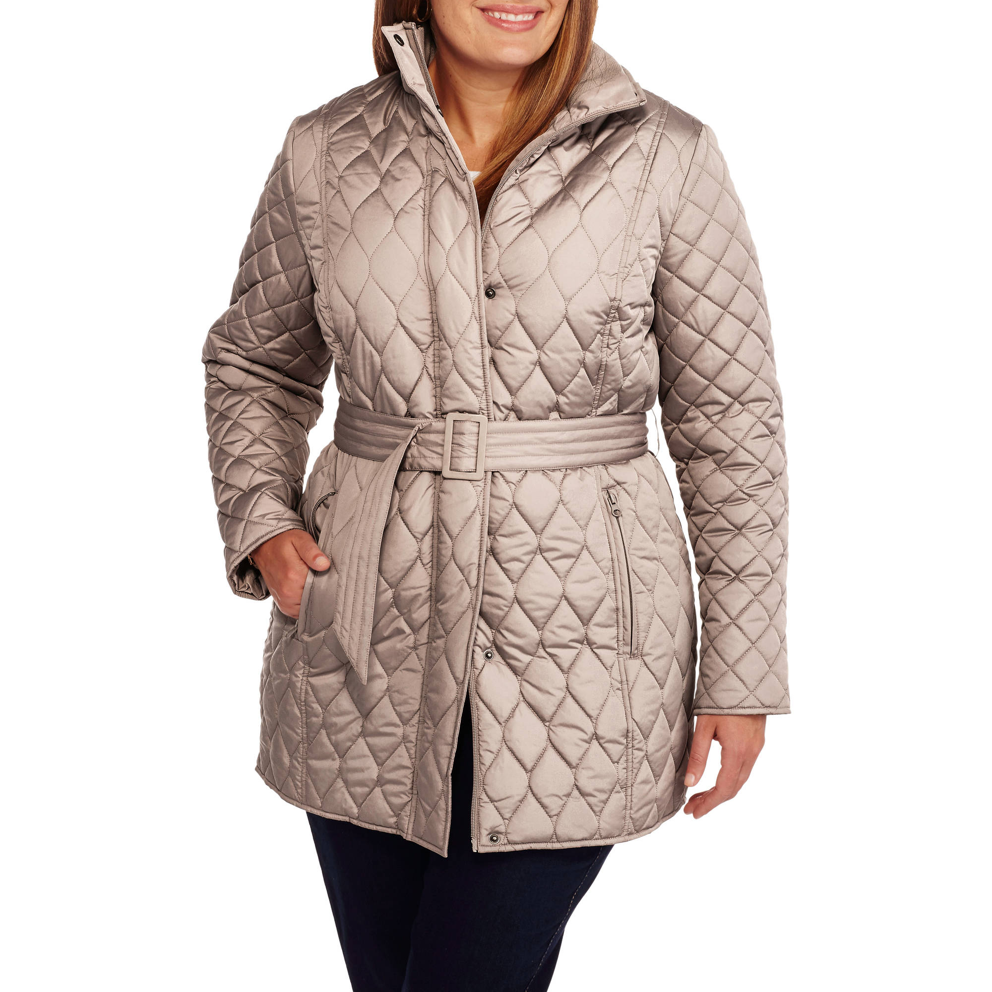 Faded Glory Women's Plus-Size Long Belted Quilted Jacket