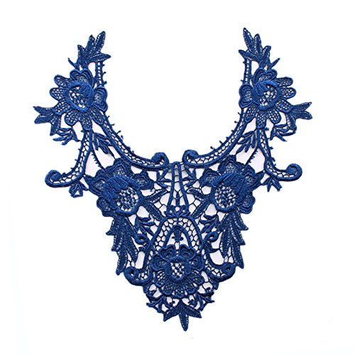"Royal Blue 11.25""x12"" Venice Lace Embroidered Bridal Bodice Patch by Piece"