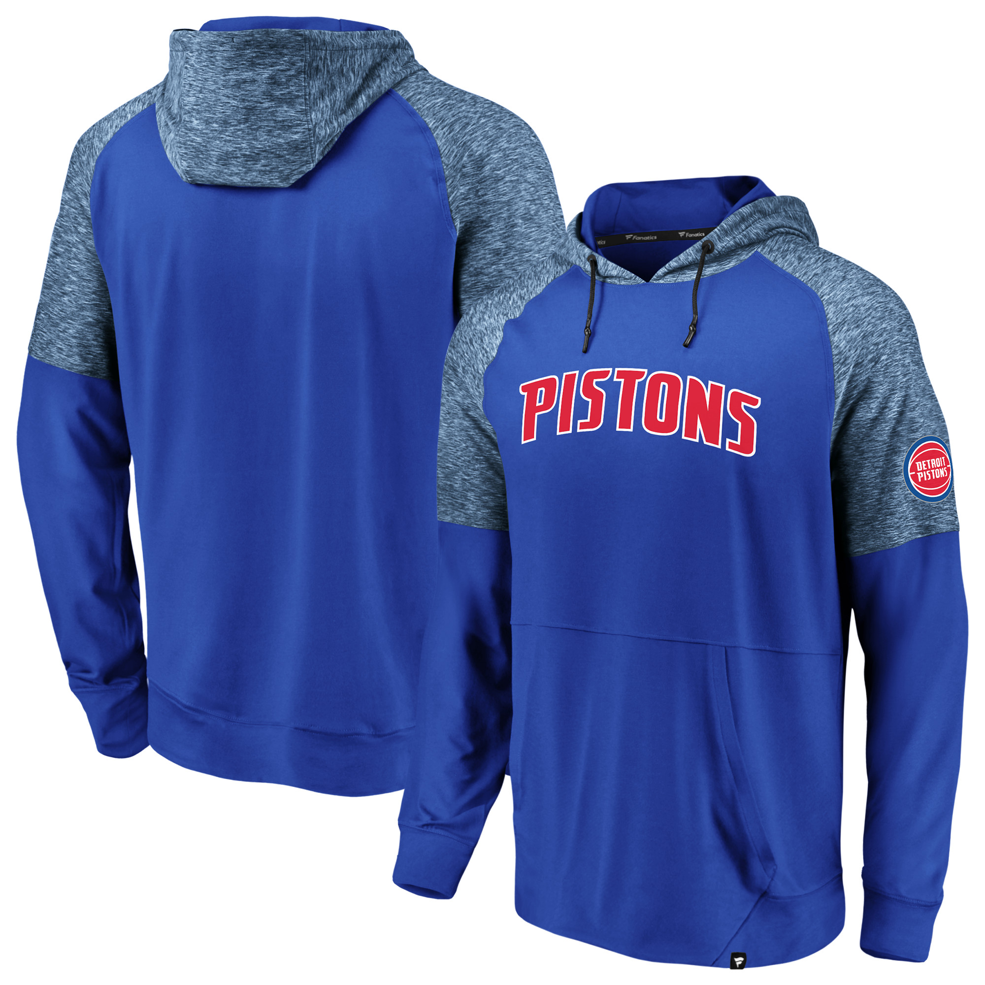 Detroit Pistons Fanatics Branded Made to Move Static Performance Raglan Pullover Hoodie - Blue/Heathered Blue