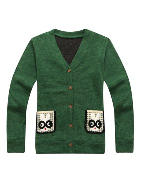 Richie House Little Boys Green Rabbit Pockets Cardigan Sweater 1-6