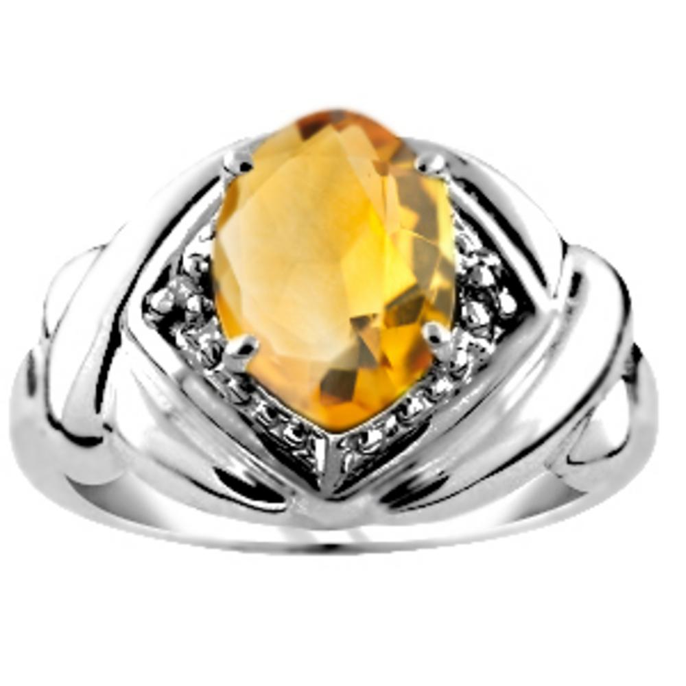 Diamond & Citrine Ring 14K Yellow Gold or 14K White Gold by Elie Int.