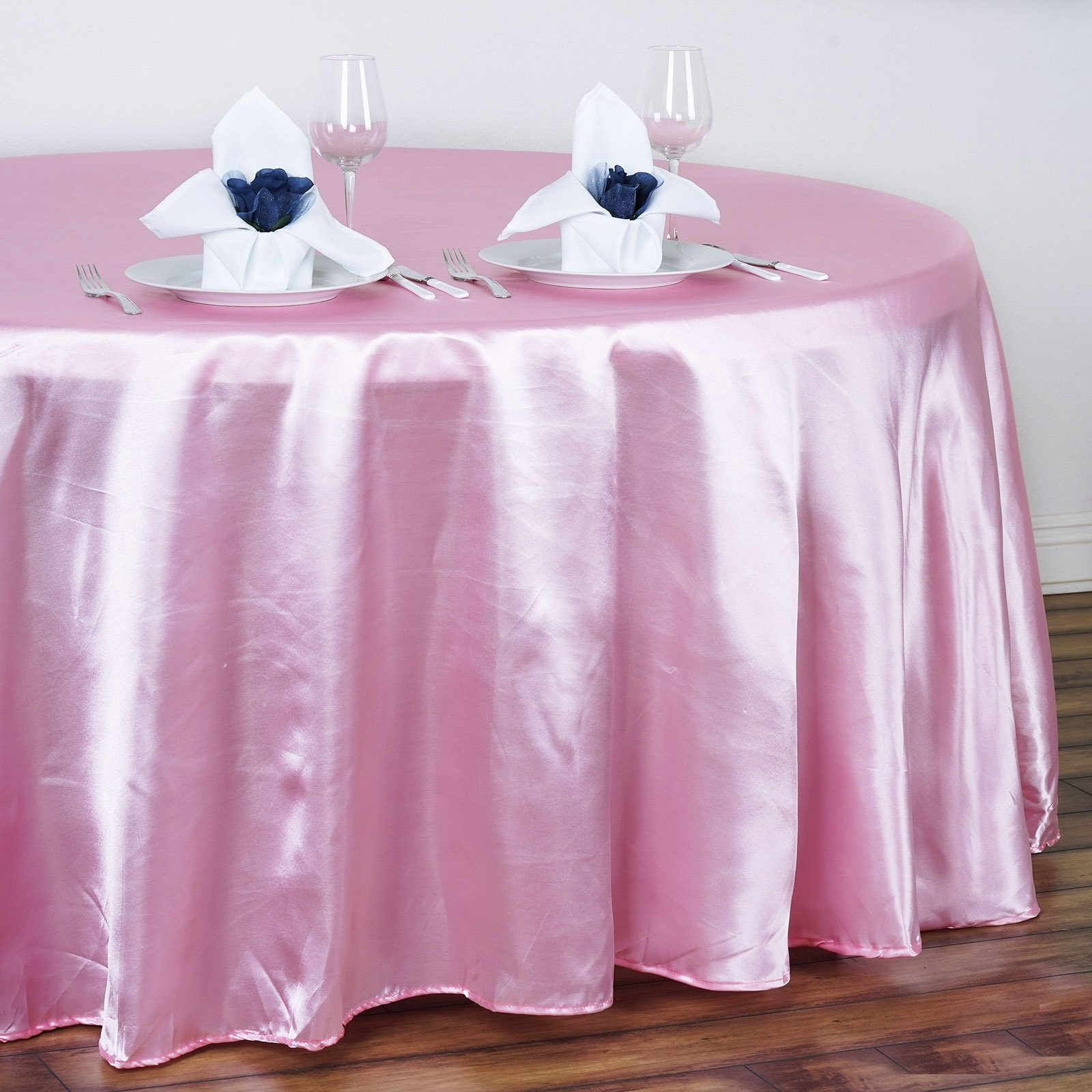 """Efavormart 120"""" Round Satin Tablecloth for Kitchen Dining Catering Wedding Birthday Party Decorations Events"""