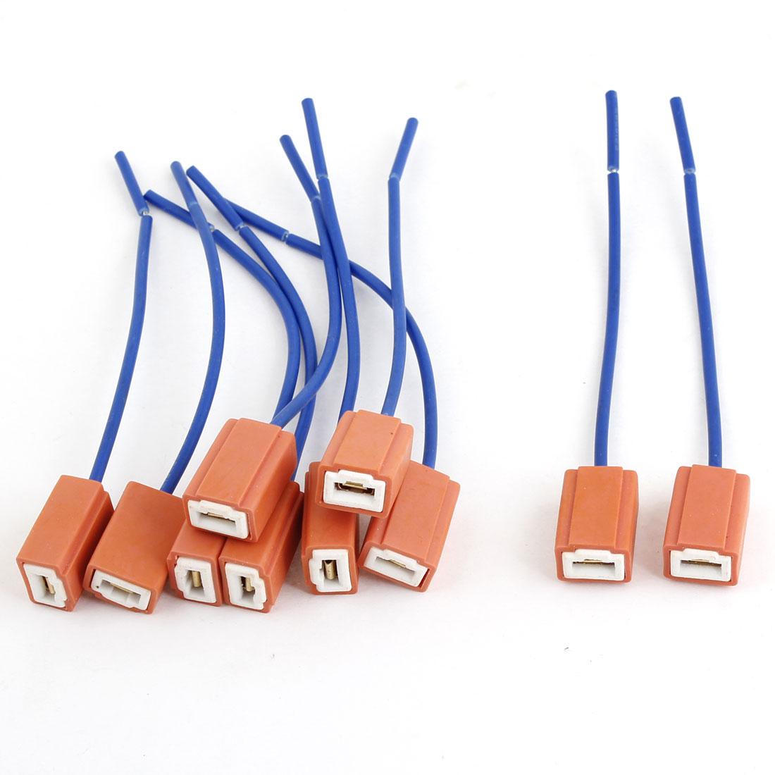"""Unique Bargains 10 Pcs H1 Car Fog Light Bulb Power Wire Harness Plug Cord w 4.3"""" Long Cable"""