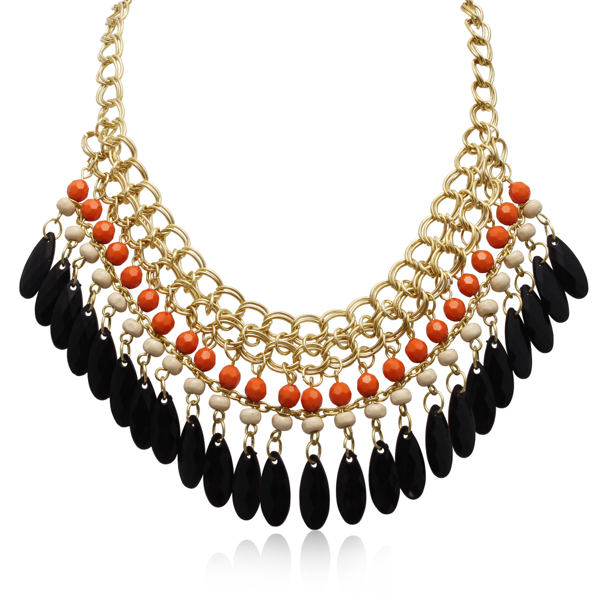 Mandarin Orange and Black Onyx Crystal Bib Necklace In Gold Overlay, 16 Inches