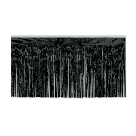 Pack of 6 Black 1-Ply Hanging Metallic Table Skirt Decorations 14' - Black Table Skirt