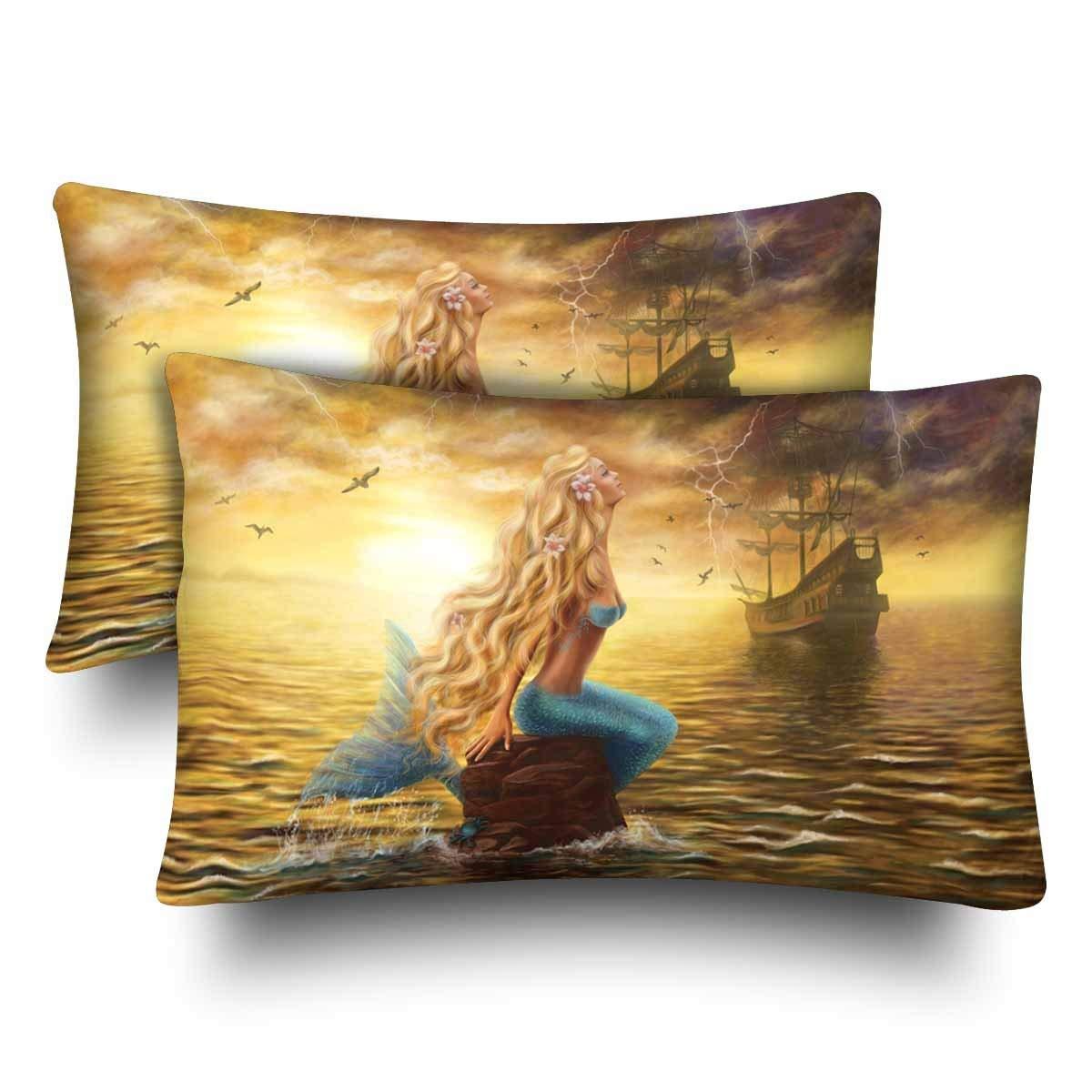 GCKG Beautiful Fish Princess Mermaid Boat Ocean Pillow Cases Pillowcase 20x30 inches Set of 2 - image 4 de 4