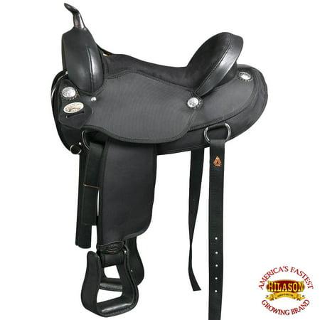 "17"" Western Cordura Horse Saddle Leather Flex Tree Trail Pleasure Hilason"