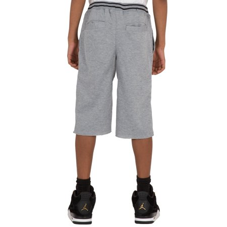 Vibes Boy Ash Gray French Terry Long Shorts Stripe Rib Waistband Raw Edge Bottom