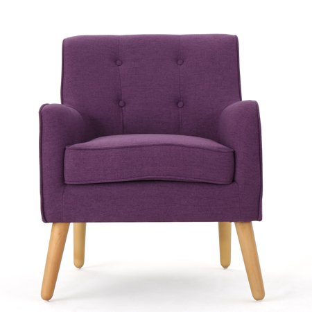 Fontinella Mid Century Fabric Arm Chair  Purple