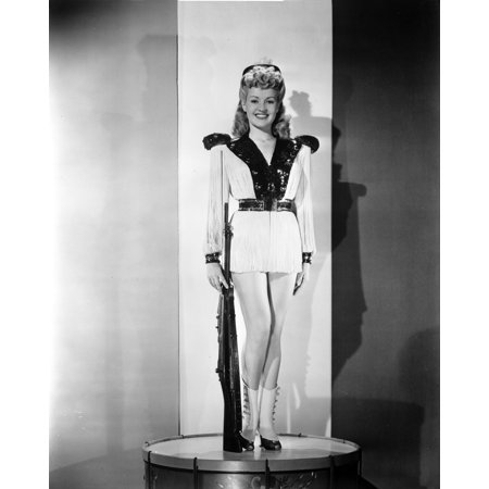 Betty Grable Posed with Hands on the Side in White Long Sleeve Silk V-Neck Shirt with Black Collar and Short Skirt Photo Print](Betty Grable Halloween)