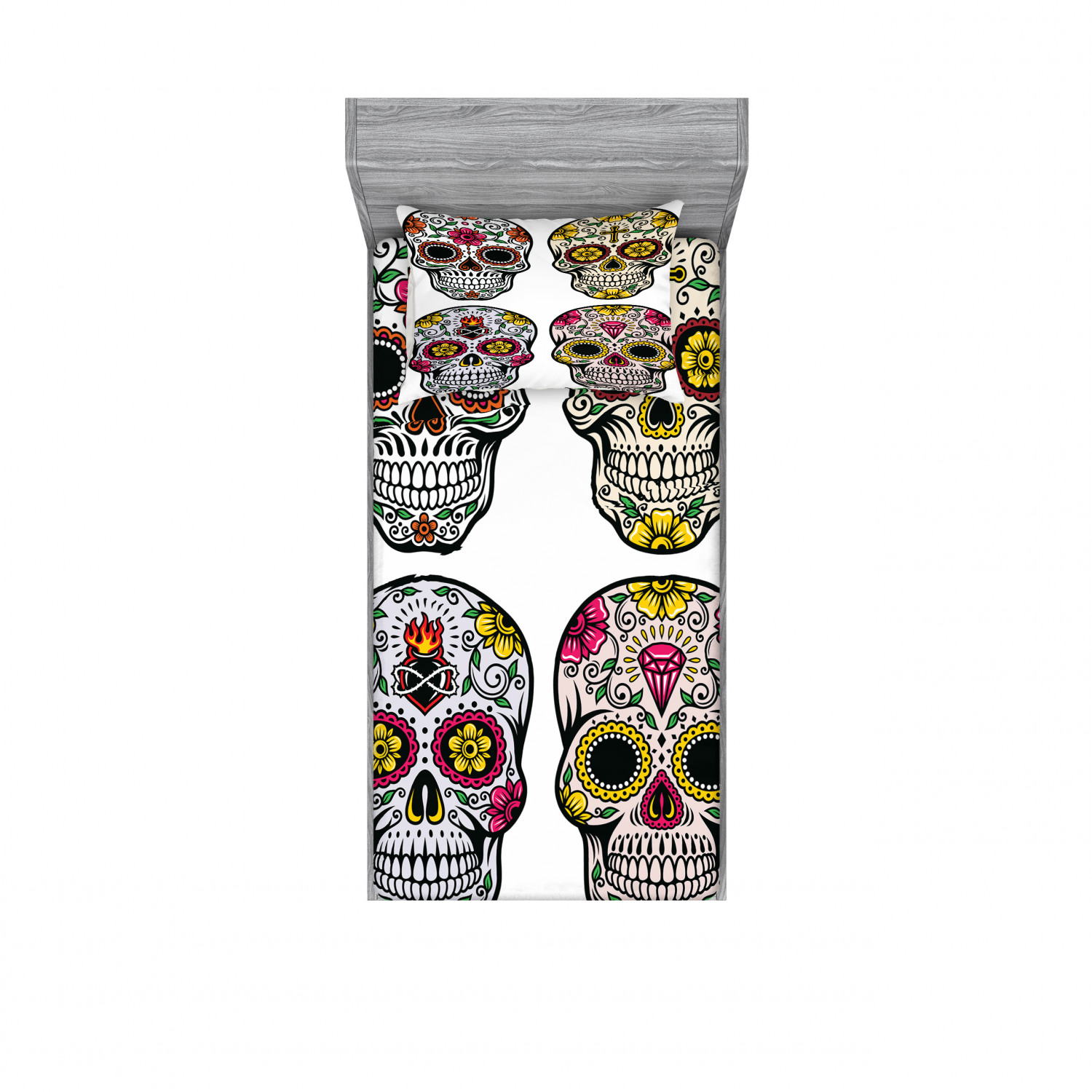 Day of the Dead Bedding Set with Sheet & Covers, Dia de ...