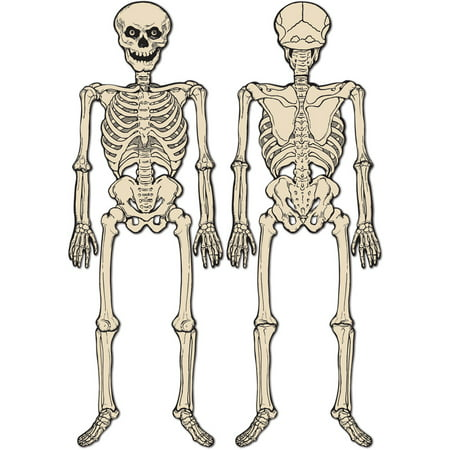 2 Sided Halloween Jointed Creepy Spooky Skeleton Figurine Prop Decoration 4' 3