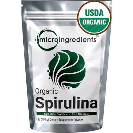 Micro Ingredients Organic Spirulina Powder, 1 Pound, Non-GMO, Non-Irradiated, Non-Contaminated