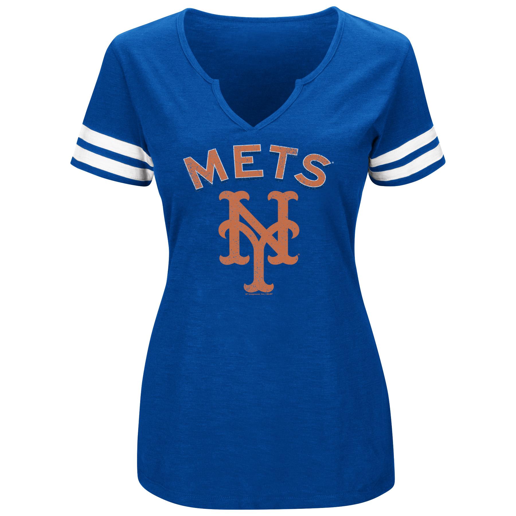 Women's Majestic Royal/White New York Mets Decisive Moment V-Notch T-Shirt