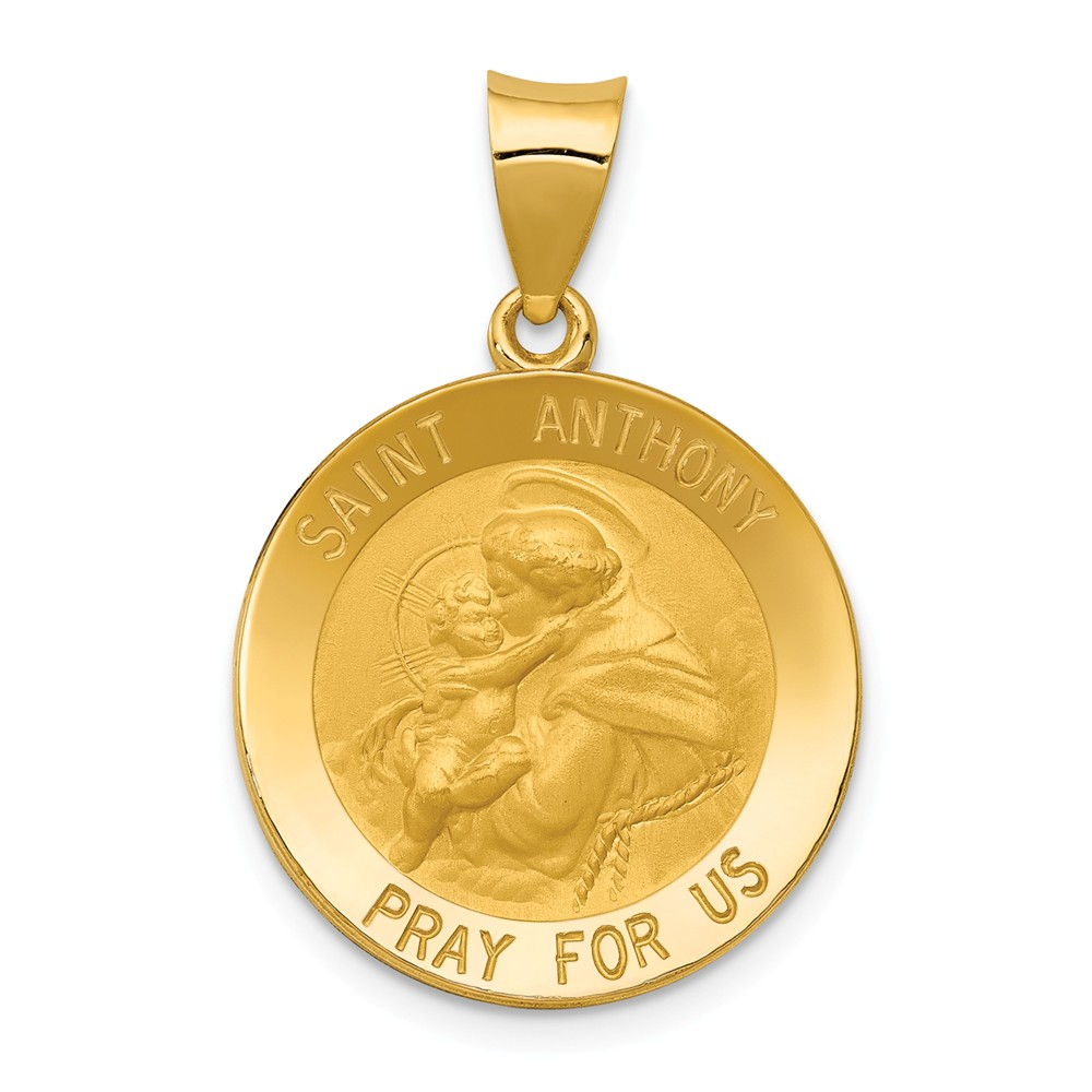 14k Yellow Gold Saint Anthony Medal Pendant