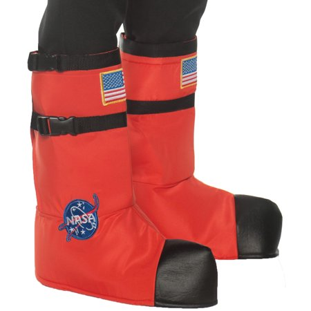 Child NASA Astronaut Boot Tops Orange White Silver Halloween Costume Accessories (Astronaut Halloween Costume Child)