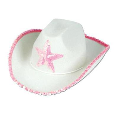 Cowboy Hat White W/ Pink Star For Each - Pink Cowboy Hat