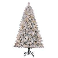 product image home heritage cascade 7 pine white flocked artificial christmas tree w lights - White Flocked Christmas Trees