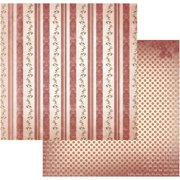 "Vintage Rose Garden Double-sided Paper 12""x12""-heavy Stripes - Case Pack Of 5"