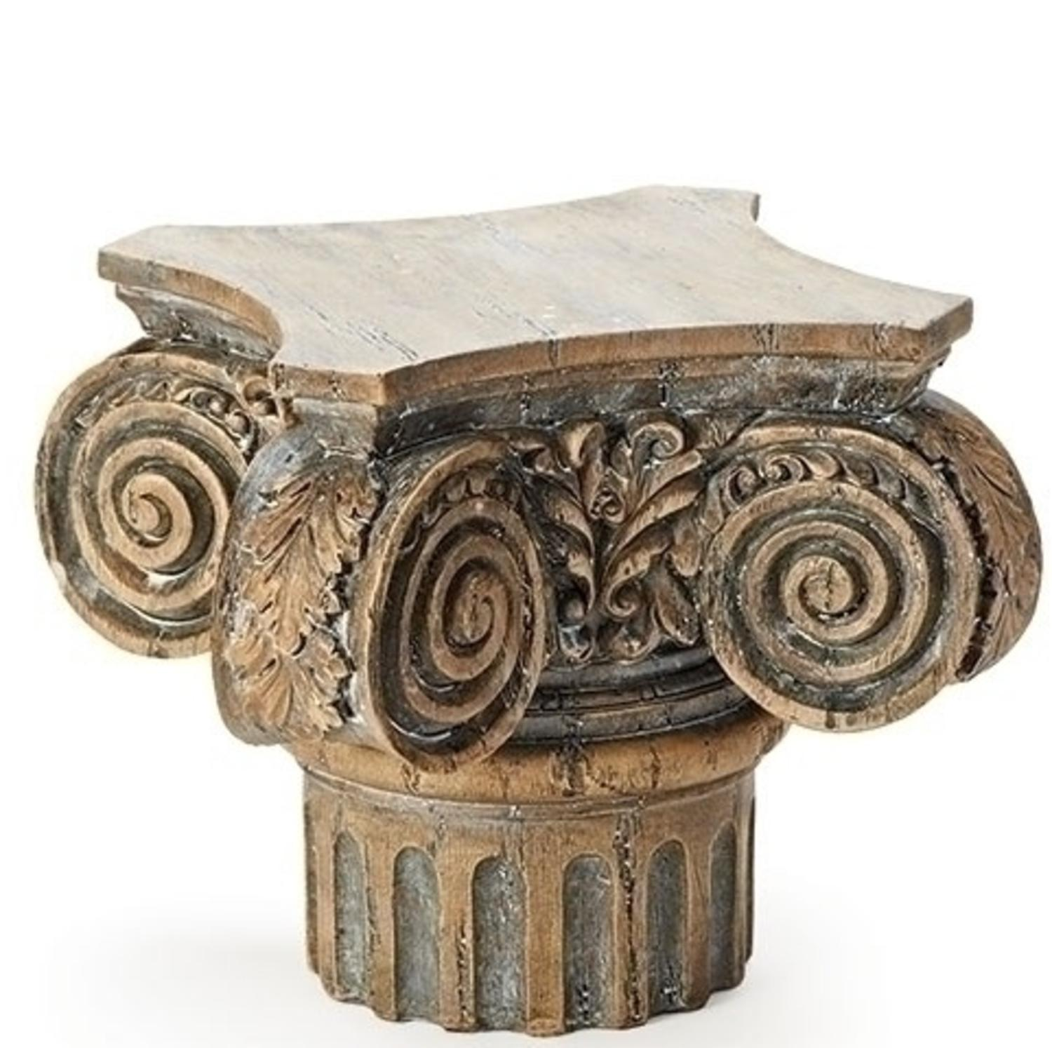"7.75"" Brown Weathered Roman Style Pedestal Display Stand by"