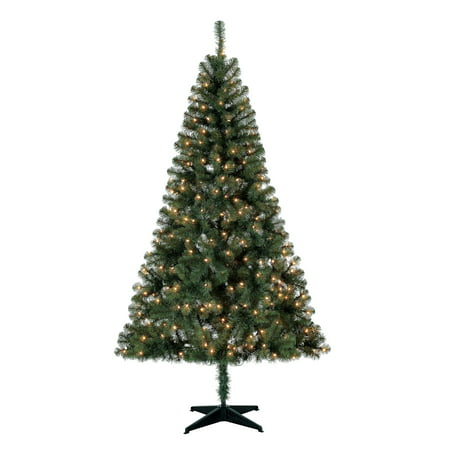 Holiday Time Pre-Lit 6.5' Madison Pine Green Artificial Christmas Tree, Clear-Lights ()