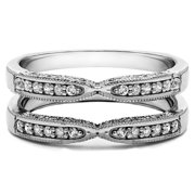 Sterling Silver 1ct Round Cubic Zirconia Solitaire Wedding Ring and Guard Set Sterling Silver, Size 12