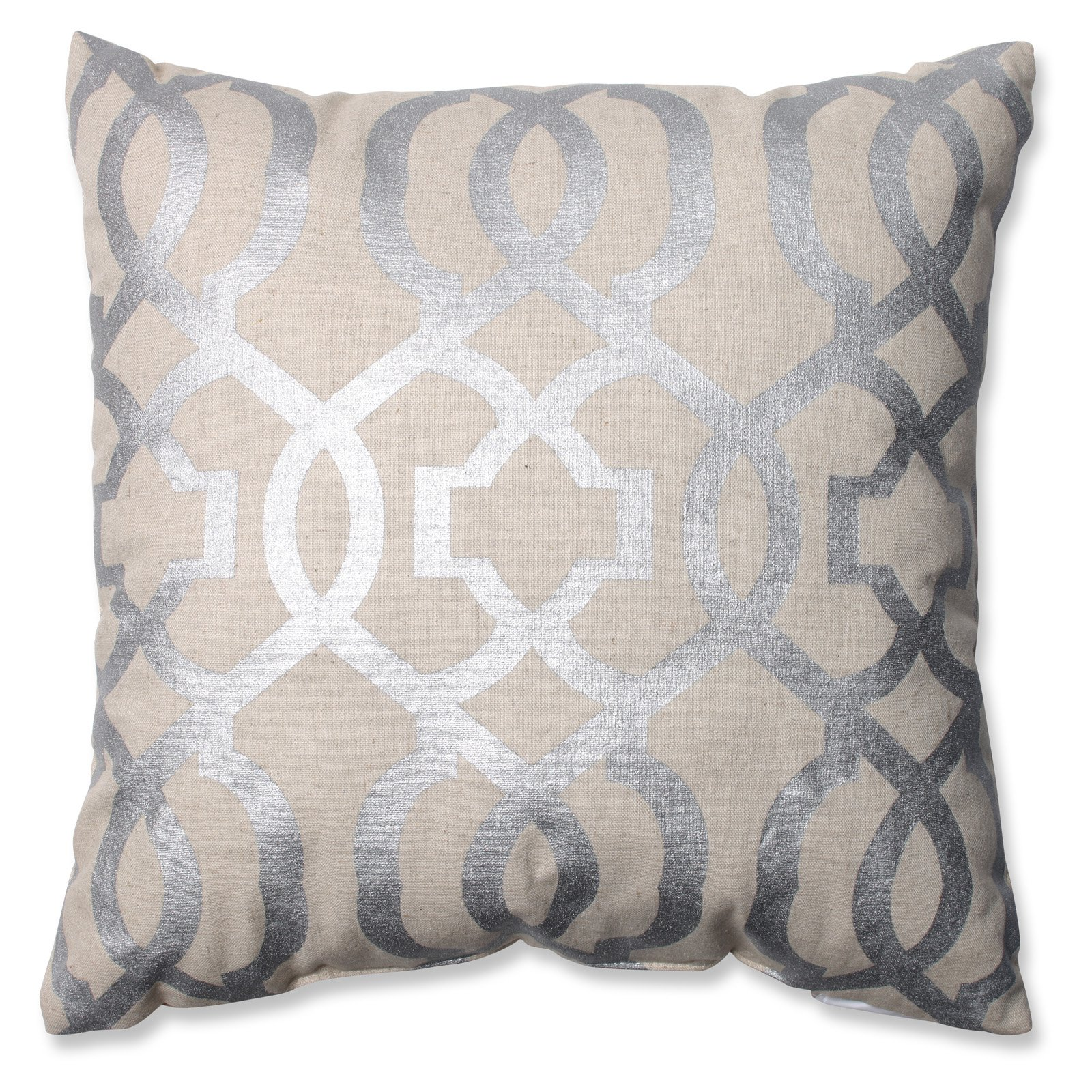 Pillow Perfect Geometric Metals Linen 16.5 in. Throw Pillow by Pillow Perfect Inc