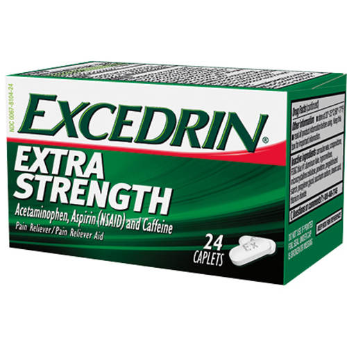 Excedrin Pain Reliever Aid Acetaminophen Caplets Extra Strength, 24 Count