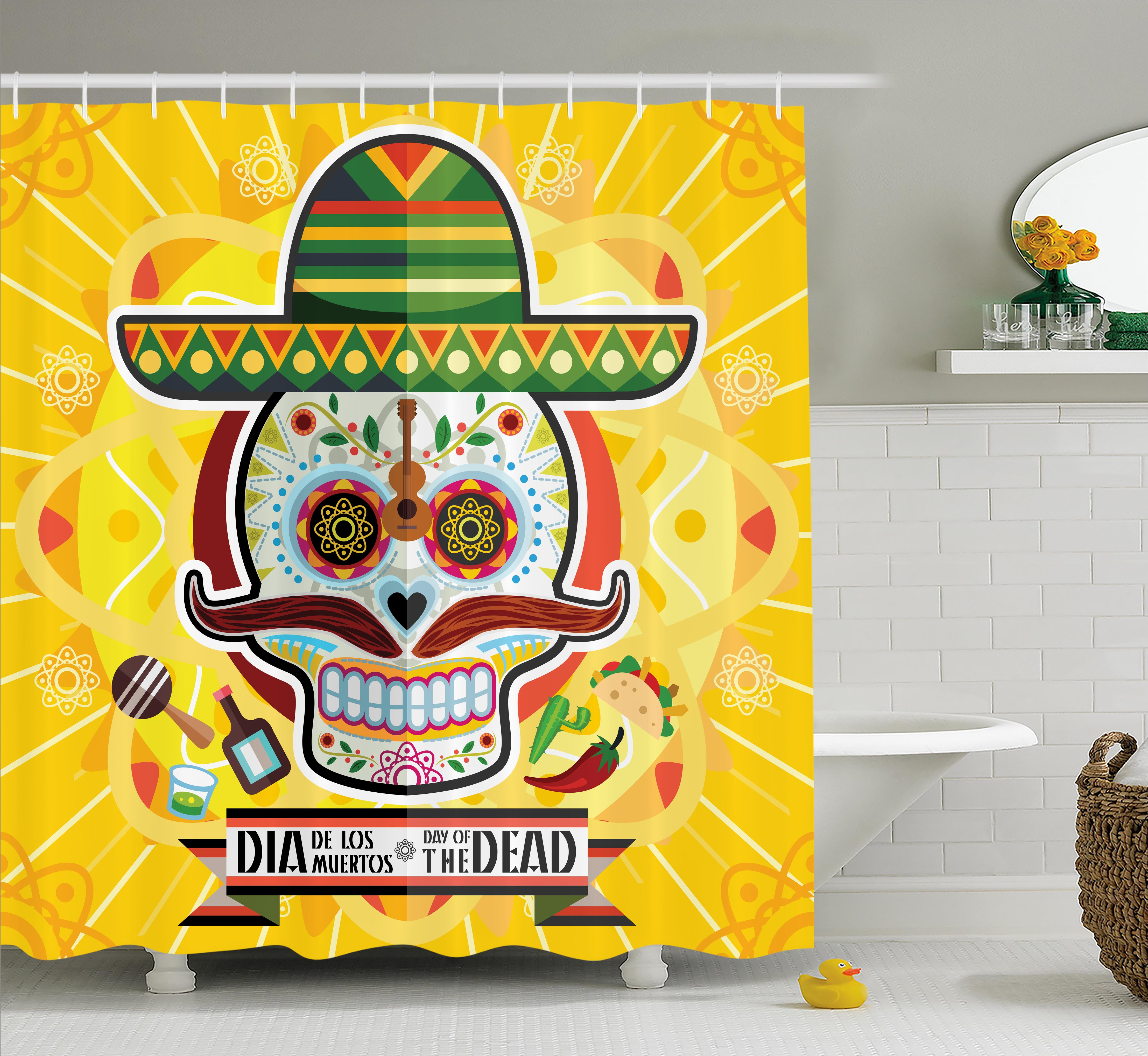 Day Of The Dead Shower Curtain, Mexican Sugar Skull With Tacos And Chili  Pepper November 2nd ...