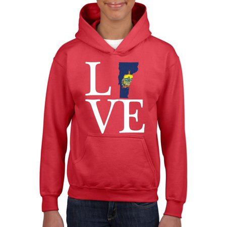 Love Vermont Youth Hoodie Hooded Sweatshirt