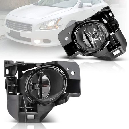Fog Lights For Nissan Maxima 2009 2010 2011 2012 2013 2014 (OE Style Real Glass Lens w/ H11 12V 55W Bulbs & Wiring (Nissan Maxima Fog Light Bulb)
