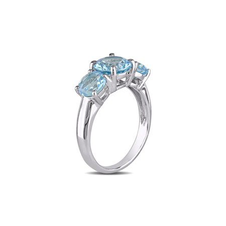 4.35 Carat (ctw) Blue Topaz Three Stone Ring in Sterling Silver - image 2 de 4