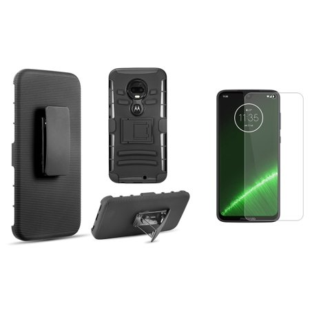 Double Layer Glass (Bemz Rugged Series Bundle Compatible with Motorola Moto G7, Moto G7 Plus with Full Body Coverage Double Layer Armor Case (Black), Tempered Glass Screen Protector and Atom Cloth)