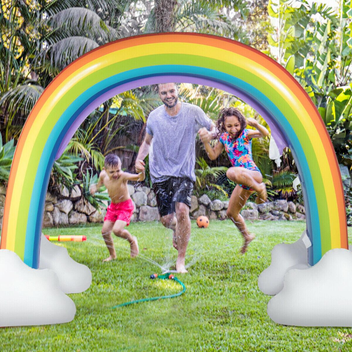 Gymax Inflatable Rainbow Sprinkler Backyard Games Summer Outside ...