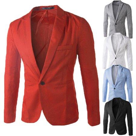 HOT Mens Men Casual Slim Fit Formal One Button Suit Blazer Coat Jacket Tops