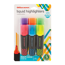 Office Depot® Brand Liquid Highlighters, Chisel Point, Black/Translucent Barrel, Assorted Ink Colors, Pack Of 6