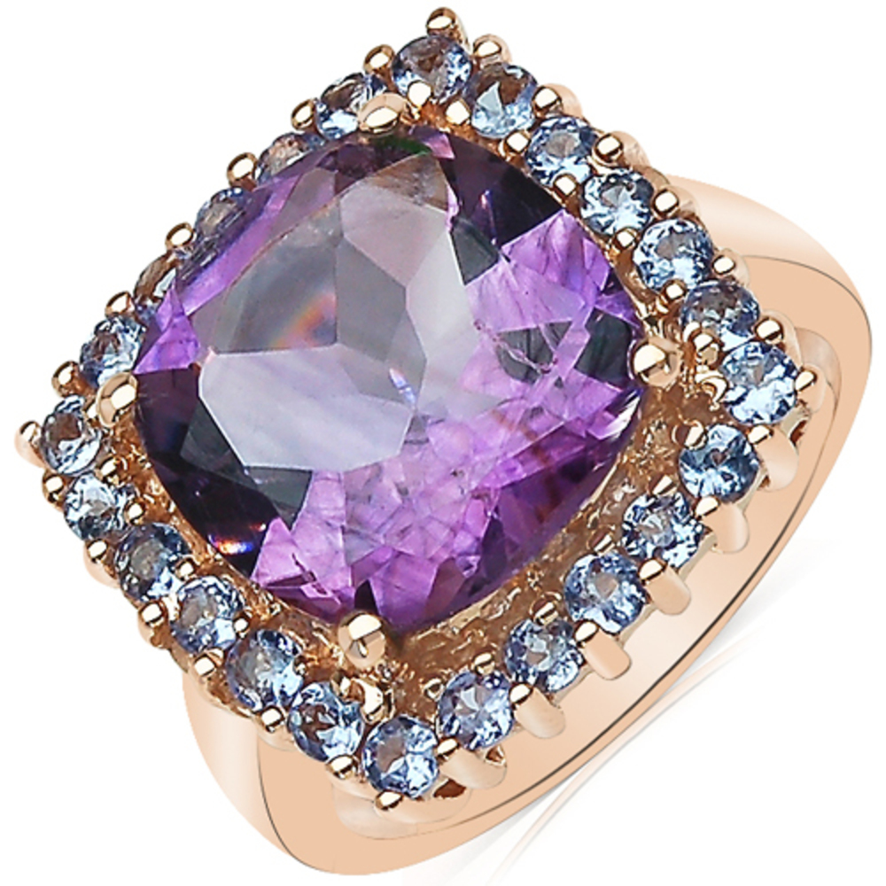 Genuine Cushion Amethyst and Tanzanite Ring in 14k Rose Gold Plated Brass Size 6.00 by