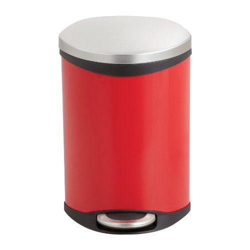Safco Products 9901RD Ellipse Step-On Waste Receptacle 3-Gallon Red