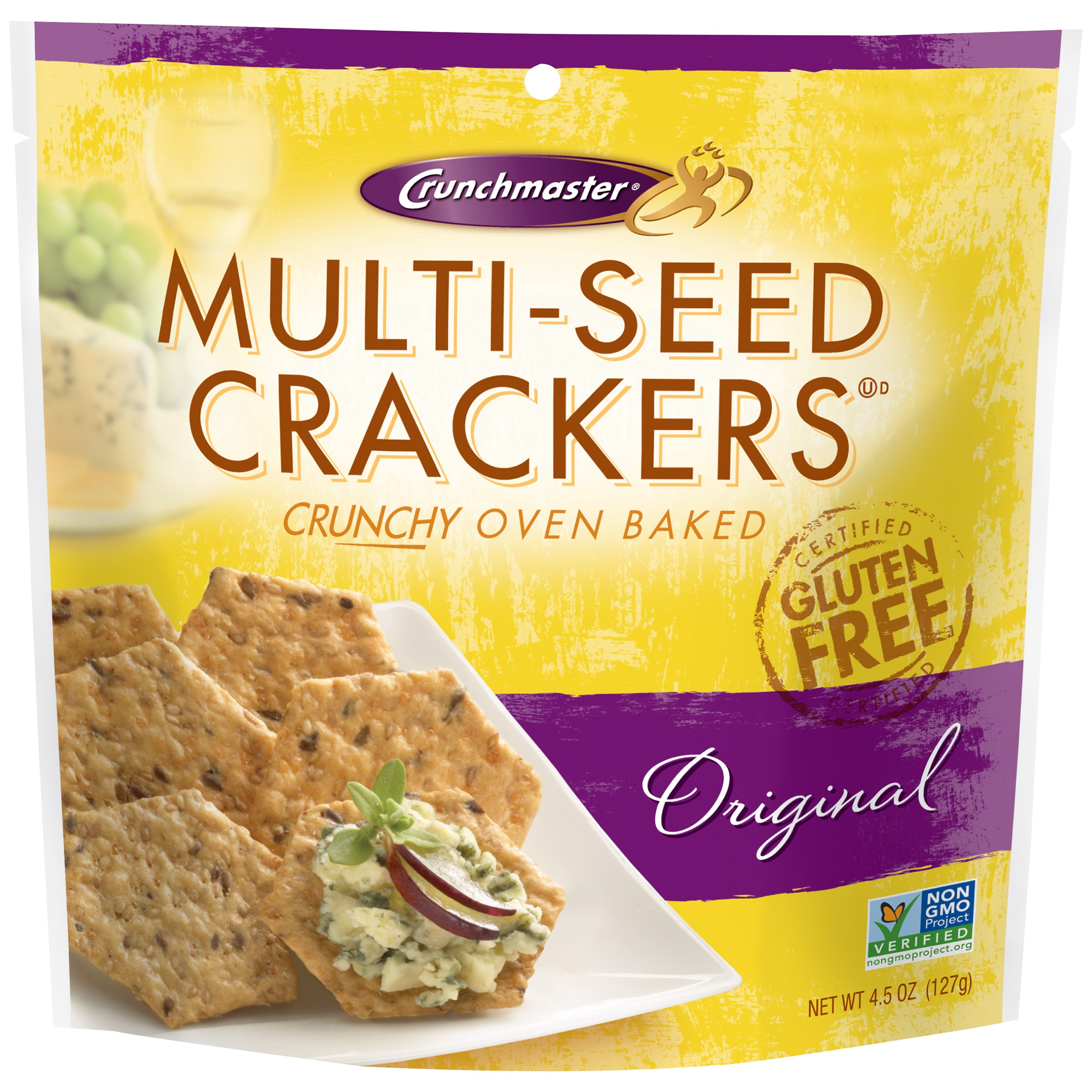 Crunch Master Gluten Free Multi-Seed Crackers, Original, 4.5 Oz by Crunch Master
