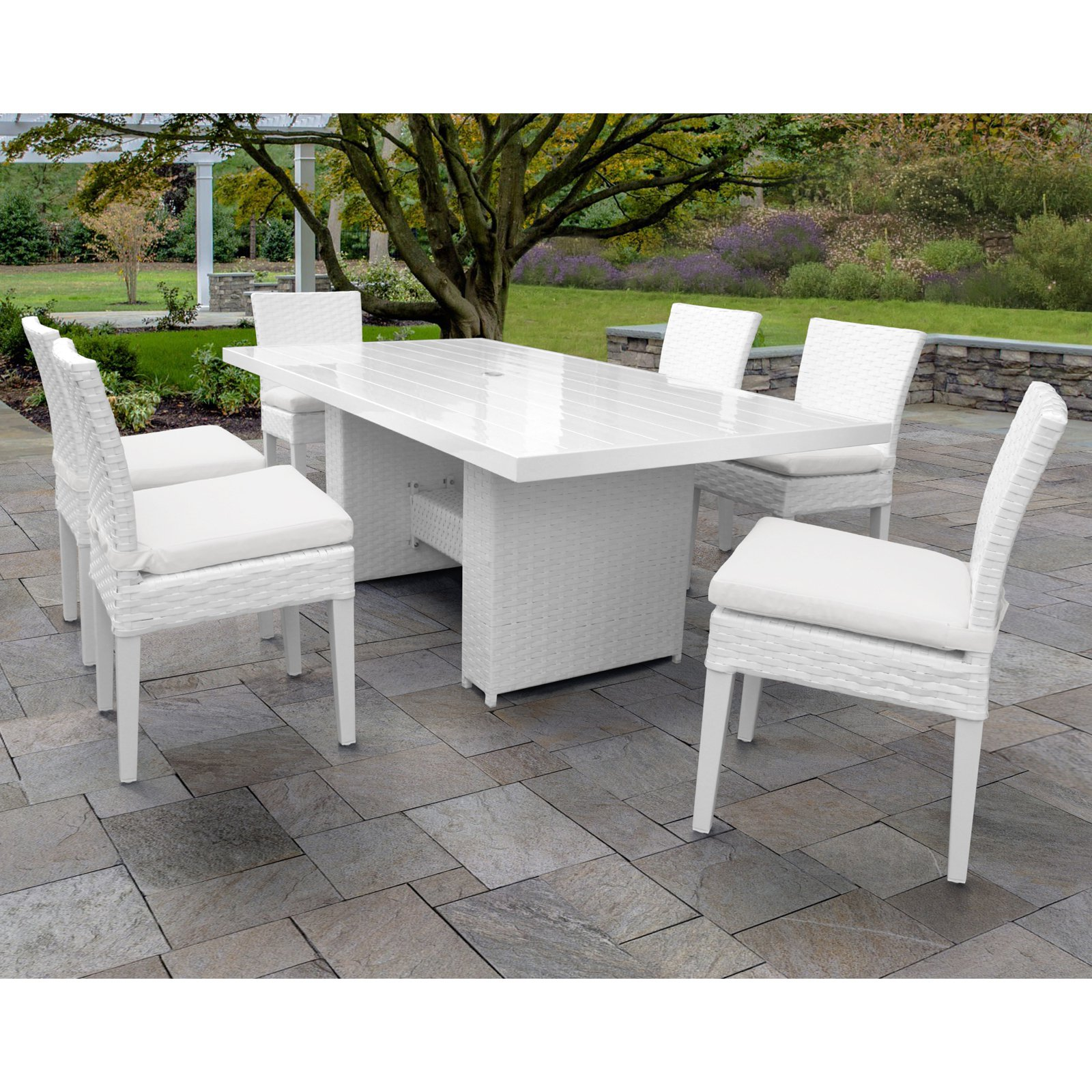 TK Classics Miami Wicker 7 Piece Patio Dining Set with Armless Chairs