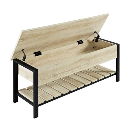 Magnificent Pemberly Row 48 Open Top Storage Bench With Shoe Shelf In White Oak Caraccident5 Cool Chair Designs And Ideas Caraccident5Info
