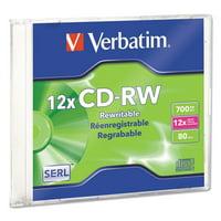 CD-RW, 700MB, 4X-12X High Speed, Branded Surface, 1/PK Slim Case